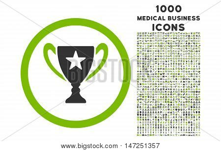 Trophy Cup rounded vector bicolor icon with 1000 medical business icons. Set style is flat pictograms, eco green and gray colors, white background.