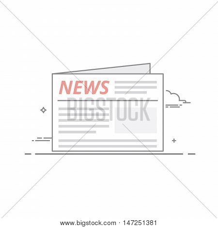 Concept of daily or weekly news published in the newspaper. Important political and economic information for the readers. Vector illustration in a linear style isolated isolated on white background