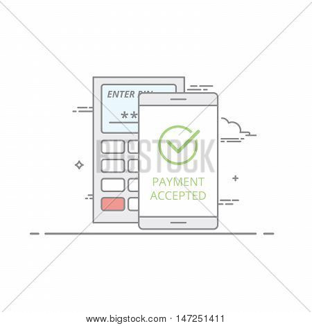 the concept of contactless payment using a mobile device . The screen icon confirmation of successful operation . The terminal receiving payments . Vector isolated illustration in a linear style