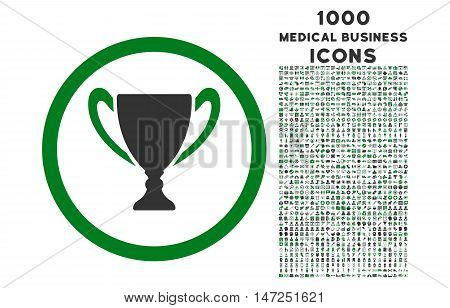 Award Cup rounded vector bicolor icon with 1000 medical business icons. Set style is flat pictograms, green and gray colors, white background.