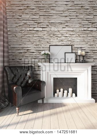 Bright interior with a loft furnished . 3D render