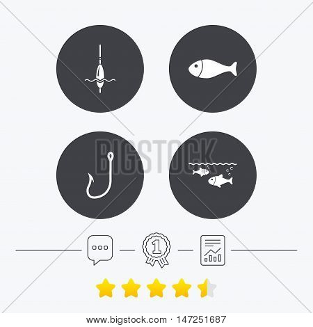 Fishing icons. Fish with fishermen hook sign. Float bobber symbol. Chat, award medal and report linear icons. Star vote ranking. Vector
