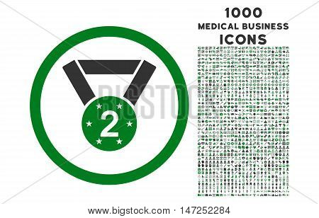 Second Medal rounded vector bicolor icon with 1000 medical business icons. Set style is flat pictograms, green and gray colors, white background.