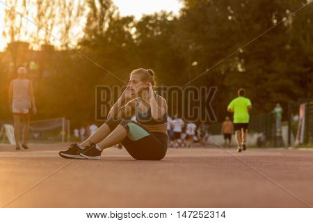 Young Teenage Girl Abs Exercise Outdoors Sunny Day Sunset