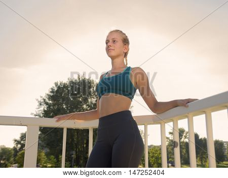 Young Teenage Girl Posing Athlete Slim Fit Sport Clothes