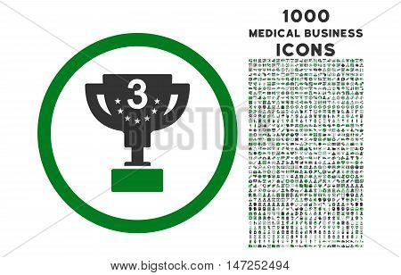Third Prize rounded vector bicolor icon with 1000 medical business icons. Set style is flat pictograms, green and gray colors, white background.
