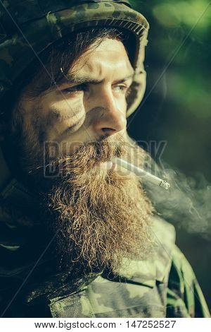 Soldier Man Smoking Cigarette