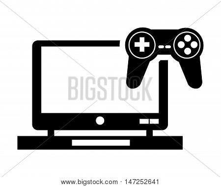 flat design laptop and  game controller icon vector illustration