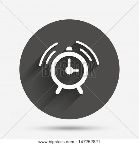 Alarm clock sign icon. Wake up alarm symbol. Circle flat button with shadow. Vector
