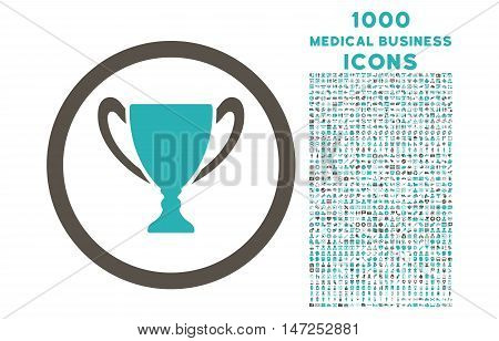 Award Cup rounded vector bicolor icon with 1000 medical business icons. Set style is flat pictograms, grey and cyan colors, white background.