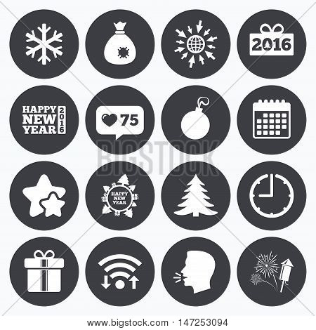 Calendar, wifi and clock symbols. Like counter, stars symbols. Christmas, new year icons. Gift box, fireworks and snowflake signs. Santa bag, salut and decoration ball symbols. Talking head, go to web symbols. Vector