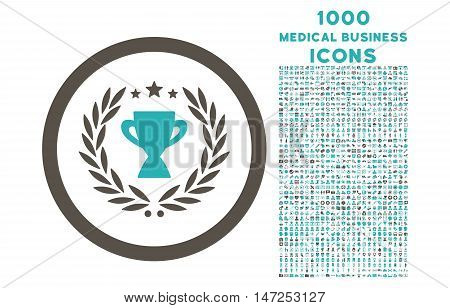 Glory rounded vector bicolor icon with 1000 medical business icons. Set style is flat pictograms, grey and cyan colors, white background.