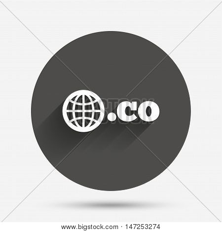 Domain CO sign icon. Top-level internet domain symbol with globe. Circle flat button with shadow. Vector