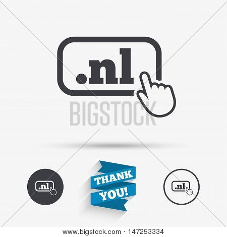 Domain NL sign icon. Top-level internet domain symbol with hand pointer. Flat icons. Buttons with icons. Thank you ribbon. Vector