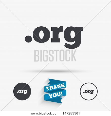 Domain ORG sign icon. Top-level internet domain symbol. Flat icons. Buttons with icons. Thank you ribbon. Vector