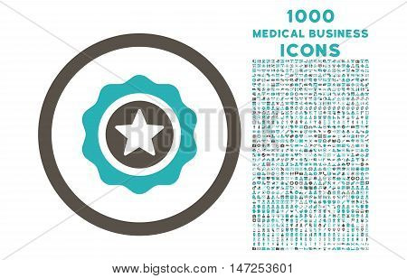 Reward Seal rounded vector bicolor icon with 1000 medical business icons. Set style is flat pictograms, grey and cyan colors, white background.