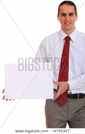 Young professional holding a board on a white background