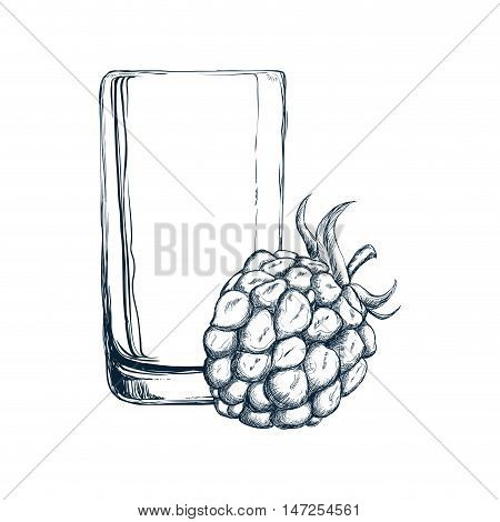 glass of juice and blackberry icon. organic and healthy drink theme. Isolated design. Vector illustration