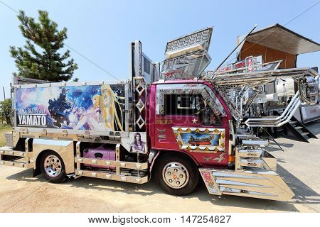 KAGAWA, JAPAN - AUGUST 7, 2016: Japanese decoration colorful truck in the parking area on August 7, 2016, in Kagawa, Japan.