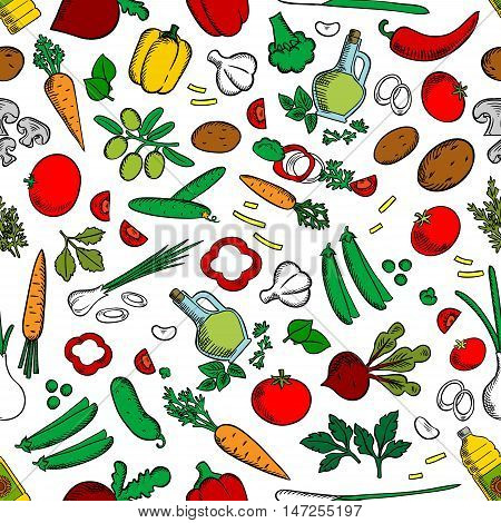 Vegetable salad ingredients, seasonings, spices. Seamless wallpaper background with cucumber, pepper, radish, tomato potato garlic carrot corn onion