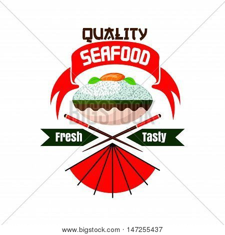 Fresh and tasty seafood. Japanese quality restaurant emblem. Bowl with rice, salmon fish sashimi, chopsticks. Oriental cuisine poster for menu card, signboard, leaflet, flyer