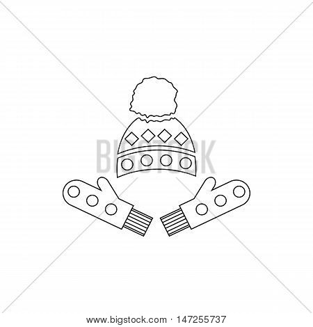 Winter mittens and cap icon in outline style isolated on white background vector illustration