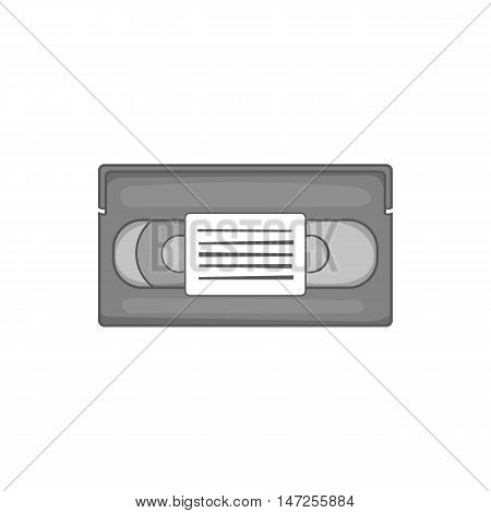 Video cassette icon in black monochrome style isolated on white background. Film symbol vector illustration