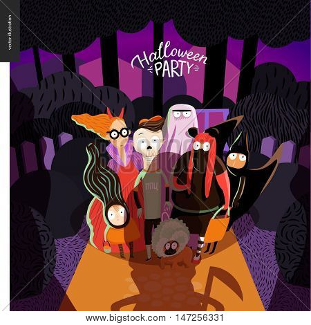 Halloween Party card with lettering. Vector cartoon illustrated group of kids wearing Halloween costumes and a dog, standing in the court in front of opened door, scared by old lady with scythe.
