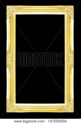 Gold picture frames. Isolated on black background