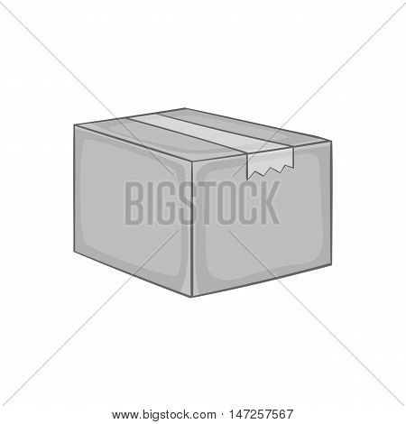 Box icon in black monochrome style isolated on white background. Package symbol vector illustration