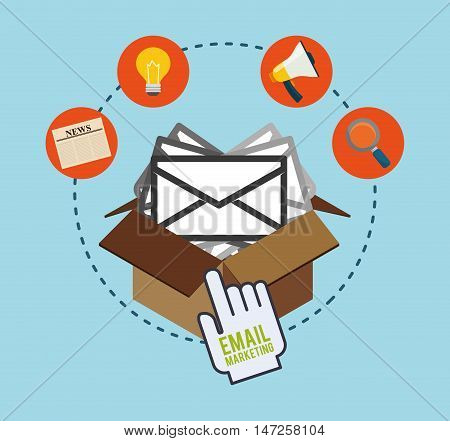 Carton box bulb lupe megaphone and envelope icon. Email marketing message communication and media theme. Colorful design. Vector illustration