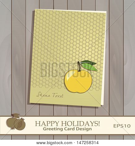 Yellow Apple Greeting card design vector template. Jewish New Year greeting card. Greeting text
