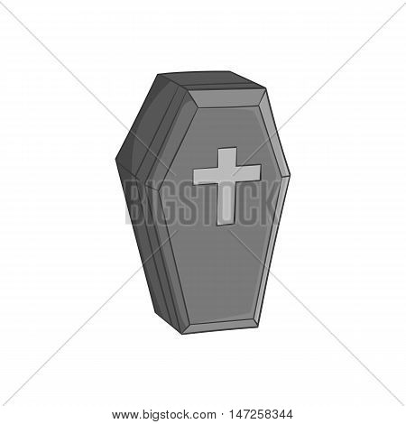 Coffin icon in black monochrome style isolated on white background. Death symbol vector illustration