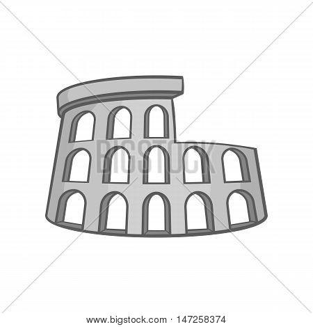 Colosseum icon in black monochrome style isolated on white background. Landmark symbol vector illustration