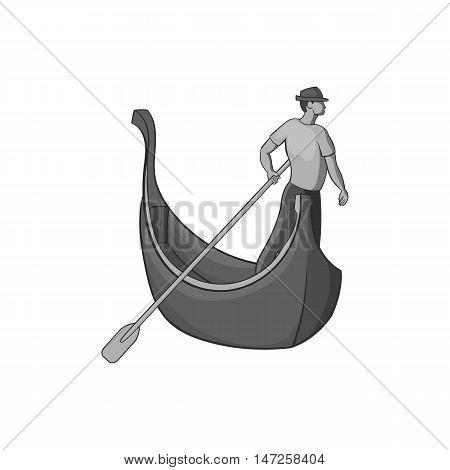 Gondola and gondolier icon in black monochrome style isolated on white background. Swimming symbol vector illustration