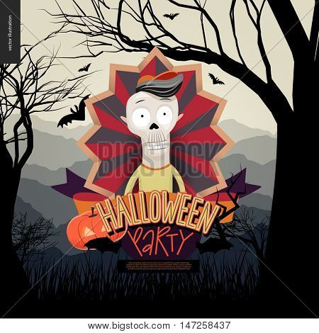 Halloween Party invitation. Flat vectror cartoon illustrated design of a skeleton in center of striped shield, bats, pumpkin jack-o-lantern, ribbon, lettering, forest landscale with trees and hills