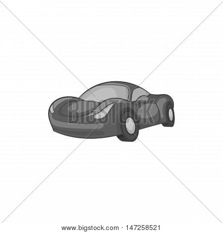 Race car icon in black monochrome style isolated on white background. Machine symbol vector illustration