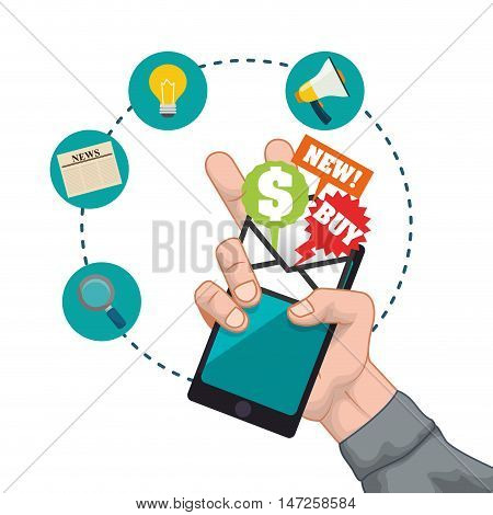 Smartphone lupe bulb megaphone and envelope icon. Email marketing message communication and media theme. Colorful design. Vector illustration