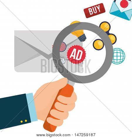 envelope and lupe icon. Email marketing message communication and media theme. Colorful design. Vector illustration
