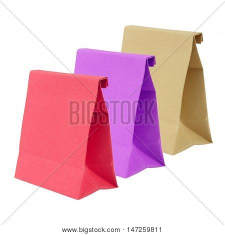 Three paper bag isolated on white background