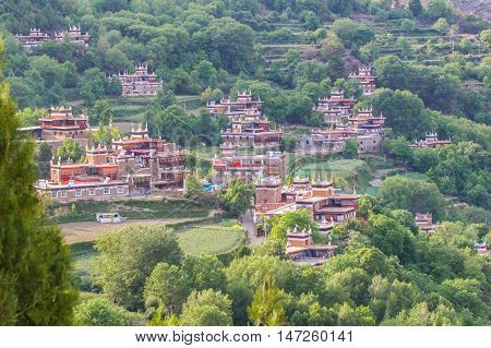 Danba Tibetan Villages at blue sky in sunshine day are known as the most beautiful villages all over China