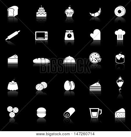 Bakery icons with reflect on black background, stock vector