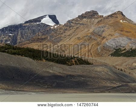 Columbia Icefields Glacier Rocky Landscape with Snow
