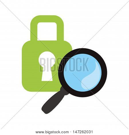 lupe or magnifying glass and padlock icon. search online and media theme. Isolated design. Vector illustration