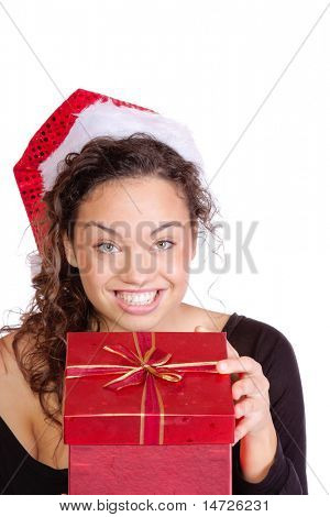Girl Holding Christmas Gift over white background