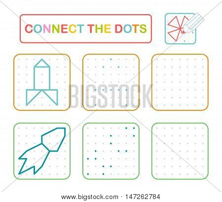 Vector Connect The Dots. Educational Game And Preschool Exercise Task For Kids. Simple Shapes (rocke