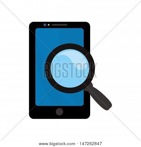 lupe or magnifying glass and smartphone icon. search online and media theme. Isolated design. Vector illustration