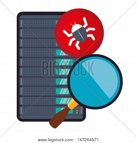 Lupe and bug. Cyber security system and media theme. Colorful design. Vector illustration