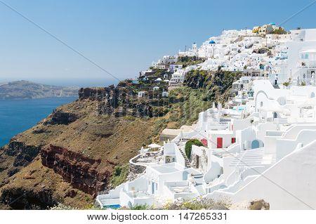 White architecture on Santorini island Greece. Beautiful landscape with sea view