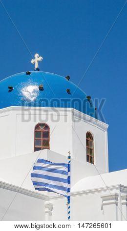 Greek orthodox church in Oia on the island of Santorini